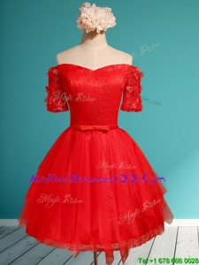 Comfortable Off the Shoulder Short Sleeves Red Mother Dresses with Appliques and Belt