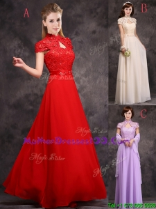 Discount High Neck Applique and Laced Mother Dresses with Cap Sleeves