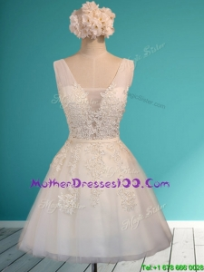 Gorgeous White Deep V Neckline Mother Dresses with Appliques and Belt