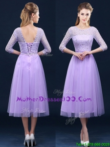 Latest Half Sleeves Tea Length Laced Mother Dresses in Lavender