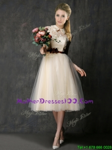 Luxurious High Neck Champagne Mother of the Bride Dress with Hand Made Flowers and Lace