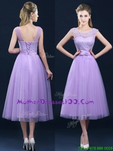Popular See Through Applique and Belt Mother of Bride Dress in Tulle