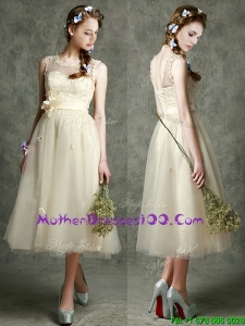 See Through Scoop Champagne Mother of The Bride Dress with Hand Made Flowers and Appliques