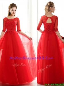 See Through Scoop Half Sleeves Red Mother of The Bride Dress with Lace and Belt