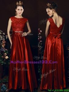 Cheap Scoop Laced and Bowknot Mother Dresses in Wine Red