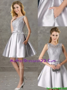 Classical Laced and Bowknot Scoop Mother Dresses in Silver
