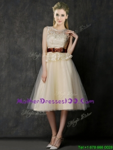 Classical See Through Scoop Mother Dresses with Bowknot and Lace