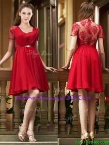 Elegant See Through Back Red Short Mothers Evening Dress with Short Sleeves