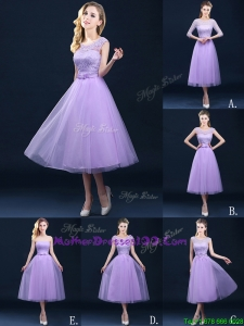 Exclusive A Line Tulle Lavender Mothers Evening Dress in Tea Length