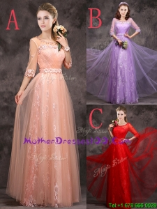 Exclusive See Through Scoop Applique and Laced Mothers Evening Dress with Half Sleeves