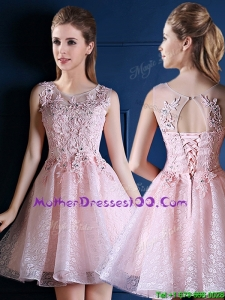 Exquisite Baby Pink Scoop Mothers Evening Dress with Appliques and Beading