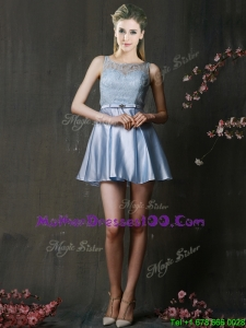 Fashionable Light Blue Short Mothers Evening Dress with Lace and Belt