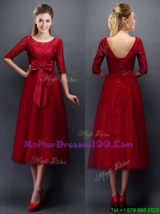 Gorgeous Scoop Half Sleeves Bowknot Mothers Evening Dress in Wine Red
