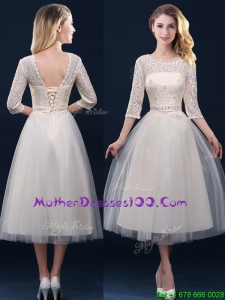 Hot Sale Laced and Applique Champagne Mother of The Bride Dress in Tea Length