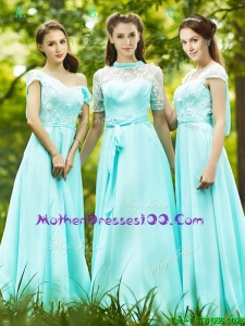 Lovely Chiffon Empire Long Mothers Dresses in Apple Green