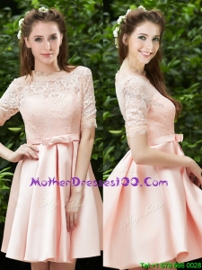 Lovely High Neck Short Sleeves Mothers Evening Dress with Lace and Bowknot