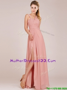Modern Straps Peach Mother Dresses with Ruching and High Slit