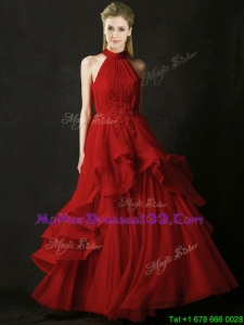 Modest A Line Halter Top Tulle Mothers Evening Dress with Appliques