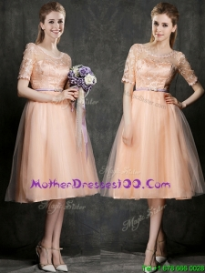 New Scoop Half Sleeves Bridesmaid Dress with Sashes and Lace