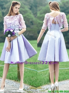 New Style Bateau Half Sleeves Lavender Mother Dresses with Appliques