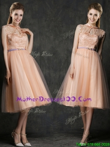 Popular High Neck Peach Mothers Evening Dress with Sashes and Lace