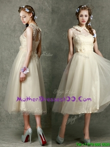 Pretty High Neck Champagne Mother Dresses with Lace and Hand Made Flowers