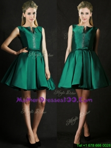 Classical A Line Green Short Mother Dresses with Beading and Belt