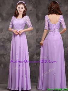Exclusive Scoop Half Sleeves Lavender Mother Dresses with Appliques and Lace