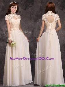 Hot Sale High Neck Champagne Mother Dresses with Appliques and Lace