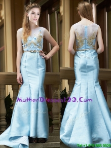 Modest Mermaid Applique Brush Train Mother Dresses in Light Blue
