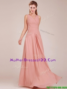 Modest Ruched Decorated Bodice Peach Mother Dresses with V Neck