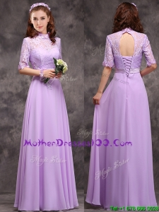 Perfect High Neck Handcrafted Flowers Mother Dresses with Half Sleeves