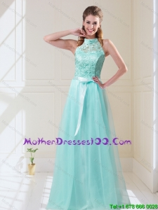 Elegant Empire Halter Top Laced Mint Bridesmaid Dresses with Sash
