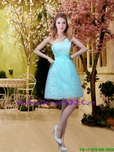 2016 Discount A Line Laced Mother of The Bride Dresses with Appliques in Aqua Blue
