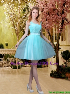 2016 Discount Aqua Blue Short Mother of The Bride Dresses with Belt