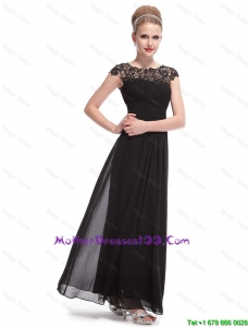 Beautiful Bateau Black Mother Dresses with Lace and Ruching