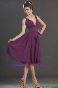 Perfect V Neck Short Mother Dresses in Eggplant Purple