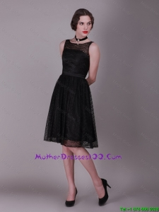 Best Selling 2016 Bateau Belt Laced Mother Gowns in Black