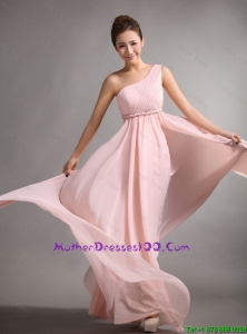 Pretty Empire One Shoulder Mother Gowns with Belt and Ruching