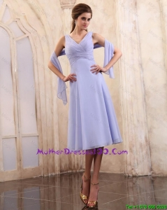 2015 Popular V Neck Tea Length Prom Gowns with Ruching