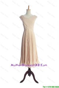 The Super Hot V Neck Pleats Discount Mother of The Bride Dresses in Champagne for 2016