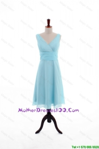 Custom Made Empire V Neck Knee Length Young Mothers Dresses in Light Blue