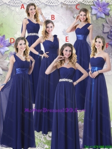 New Style Empire Floor Length Mother Dresses in Navy Blue