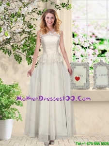 Perfect Champagne Mother Dresses with Appliques and Lace