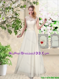 Classical Scoop Appliques Mothers Dresses in Champagne