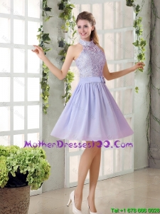 Beautiful A Line High Neck Lace Mother Dresses with Lavender