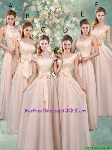 Luxurious Champagne Mother Dresses with Lace and Bowknot