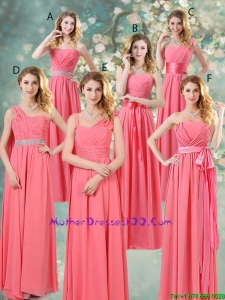 Fashionable Ruched Mother Dresses in Watermelon Red