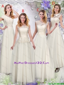 Feminine Champagne Laced Mother Dresses with Appliques