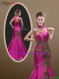 2016 New Style Mermaid Brush Train Mother Dresses with Appliques and Beading